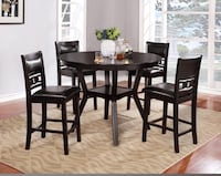 *NEW* 5pc Dark Walnut & Espresso Leather Pub Table Charlotte, 28216