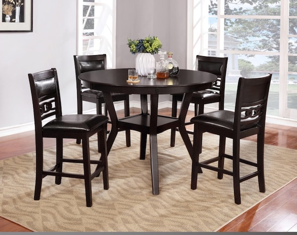 *NEW* 5pc Dark Walnut & Espresso Leather Pub Table e5517bf1-0b16-42ef-9ee3-70b48b9e83df