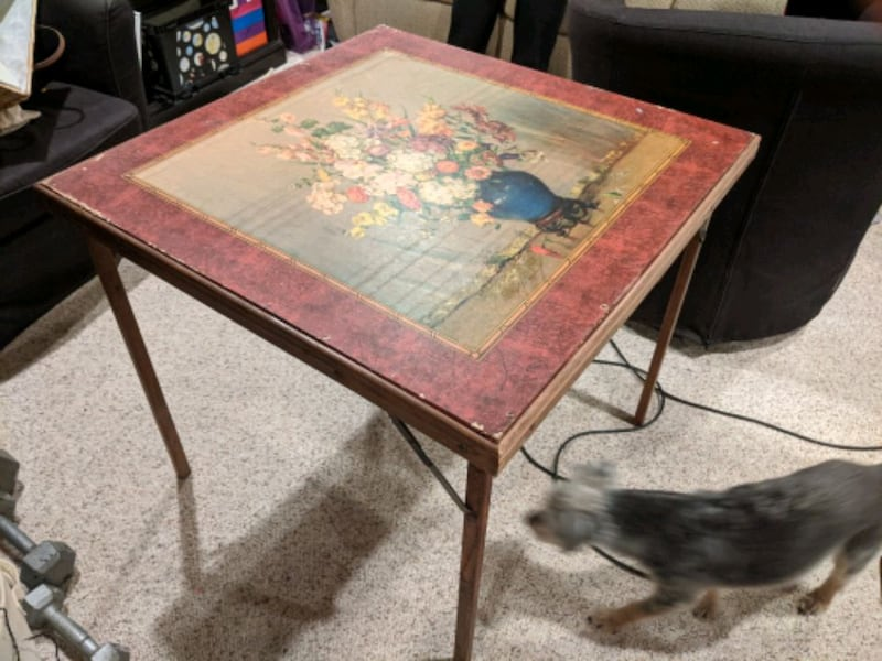 Antique wooden gaming table.  eea97d87-afc9-41f3-8d7c-aed64f9fe161