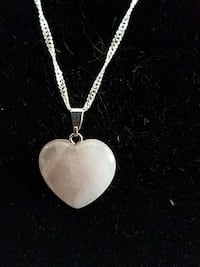 Sterling Natural opal heart necklace
