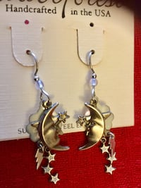 Silver Forest jewelry Stars and Moon long dangling earrings - fun style fashion jewelry Alexandria, 22311
