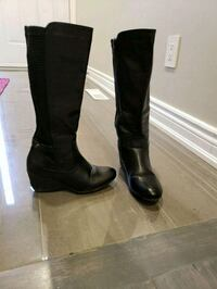 pair of black leather knee-high boots, size 7 Mississauga, L5L