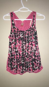 women's pink and black floral spaghetti strap top Calgary, T3K 0J8