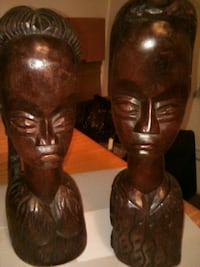 African Carved Solid Wood Figures . Antique. Jersey City, 07304