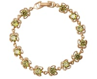 Brand New 18K Gold plated tennis bracelet in real Olive Green and cubic zirconia stones