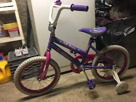 "Girls bike 16"" Lil Gem bike w/ bell & training wheels"