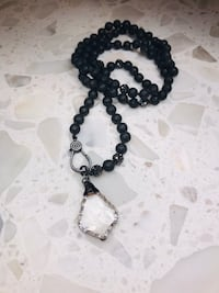 NEW Lava Bead Necklace with Agate Pendant