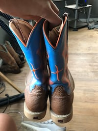 Pair of brown-and-blue leather cowboy boots