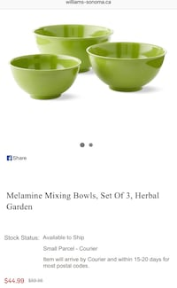 Williams-Sonoma mixing bowls set of 3 Toronto, M9W