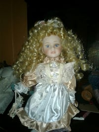 girl wearing white and beige dress toy doll Magee, 39111