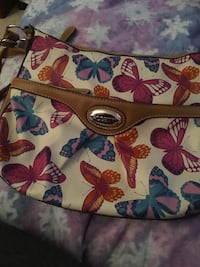 White and multicolored floral crossbody bag with butterflies on it Philadelphia, 19111