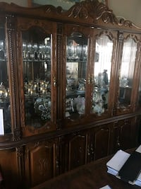 brown wooden framed glass china cabinet Toronto, M9V 3S8
