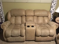 Beige theater loveseat