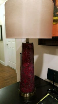 Red glass table lamp with beige lampshade Miramar, 33029