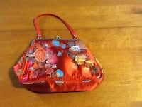 Red floral silk hand bag and two other items. Brossard, J4X 1Y4