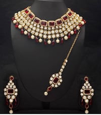 Pearl kundan necklace and earrings set! Brand new! Canyon Country, 91387