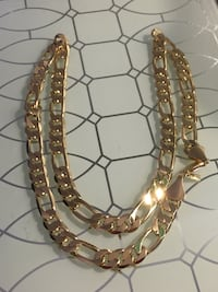 "18k GPL Figaro Chain Necklace 24"" 9mm"