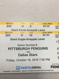 Pittsburgh Penguins tickets bs Dallas Stars Pittsburgh, 15219