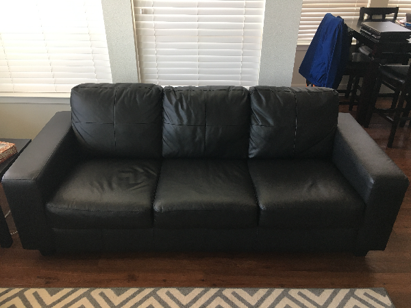 Black Couch - 3 Person Leather Sofa - Great Condition - Skogaby IKEA