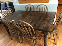 rectangular brown wooden table with four chairs dining set Hyde Park, 12538