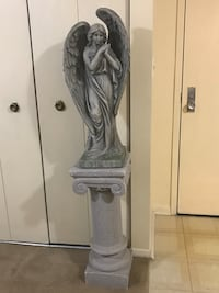 "2 pc 34"" tall heavy angel with 30"" tall heavy stone pedestal stand Gaithersburg, 20877"