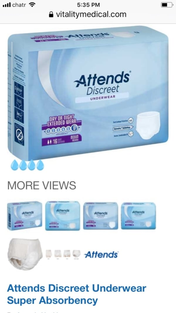 Day/ night extended wear Incontinence under wear( large). Overnight protection. a81fd1f9-d9d5-4cf7-a88f-5614978a034b