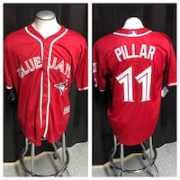 white and red Blue Jays Pillar 11 jersey shirt collag