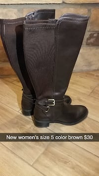 pair of women's size 5 brown leather wide-calf buc CLOVIS