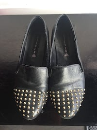 STEVEN Steve Madden Women's Melter Gold Studded Leather Loafer Flats Black 6.5US Toronto