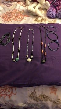 Made with love beaded necklaces and bracelets. Necklaces 12.00 a piece and bracelets at 6.00 each, or all shown here for 45.00 Henderson, 89011