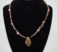 CHICO'S ANIMAL PRINT PENDANT BEADED WIRE NECKLACE