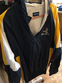 Holloway sweat suit navy blue, white, and yellow top with hood