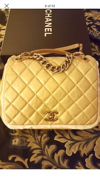 quilted white Chanel leather tote bag Laurel, 20723