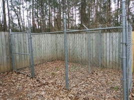 black and gray metal fence