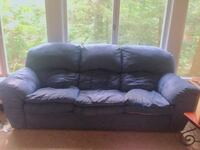 Blue suede 3-seat sofa Rochester, 14625