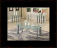 3pc glass white coffee table Ashburn