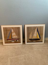 Boat wall pictures (set of 2 made of solid wood) Grapevine, 76051
