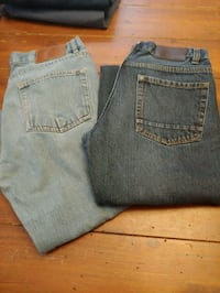 two gray and blue denim bottoms 654 km
