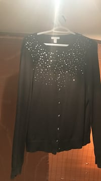 women's stone embellished black button down long sleeve top