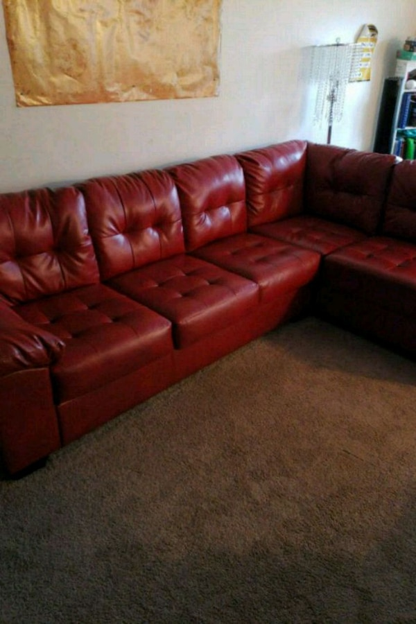 Strange Used Red Leather Sectional For Sale In Central Islip Letgo Pabps2019 Chair Design Images Pabps2019Com