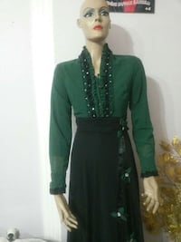 women's green and black long sleeve dress.