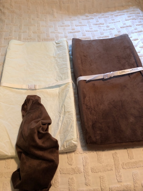 baby changing pad mattress set of 2 with safety straps and brown covers