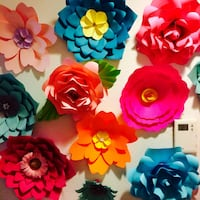assorted-color paper flower wall decors Houston, 77018