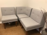 Two gray fabric padded chairs 40 km