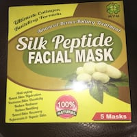 SEALED BOX (5) Silk Peptide Facial Masks for Anti-Aging Roblin, R0L
