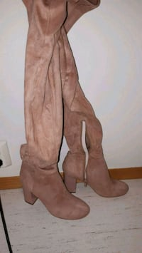 Knee-long beige high heel boots size 39 6243 km