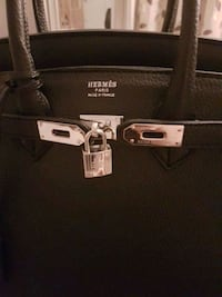 black Hermes leather tote bag