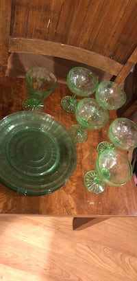green and clear glass bowl set 955 mi