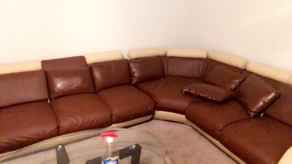 Used Brown Leather Sectional Sofa With Throw Pillows For Sale In