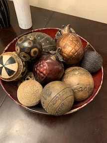 Decorative bowl with balls, centerpiece, home decor
